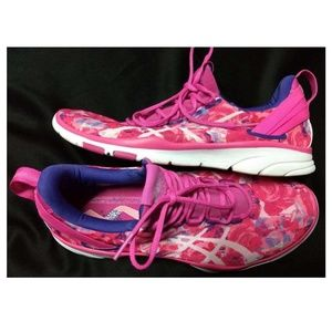 Asics, rose pattern lightweight running shoes.